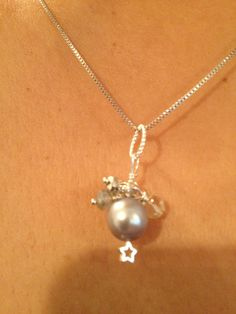 Lilac Grey Silver Pearl Pendant Silver jewelry Bridal by Lilyb444, $30.00