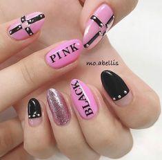 Blackpink Nails Cute Nail Art, Beautiful Nail Art, Cute Nails, Pretty Nails, Korean Nail Art, Korean Nails, K Pop Nails, Hair And Nails, Idol Nails