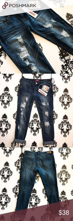 NWT! 🍀 Super Cool Distressed ankle Crop Jeans! These jeans are so stylish and cool with the distressed ripped jean look on the front! You can roll the jeans for a cute Capri ankle cropped look with flip flops or unroll them for long jeans and wear them with boots! Both ways are super cute and fun! These jeans have a bit of a stretch for a great fit and feel and are brand new with tags! Smoke free home. Jeans