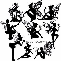 Die Cut Silhouette - FAIRIES C x 18 assorted for Card making, Fairy Jars, Crafts
