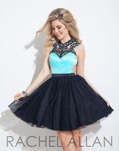 Rachel Allan 4059 Aqua Black Homecoming Dress