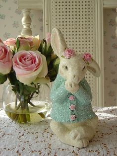 Glitter Easter Bunny w Aqua Sweater & Pink Roses by The Illusive Swan Happy Easter, Easter Bunny, Easter Eggs, Easter Parade, Spring Sign, Paperclay, Easter Crafts, Easter Ideas, Easter Decor