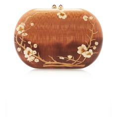 Silvia Furmanovich Marquetry Floral Clutch ($6,000) ❤ liked on Polyvore featuring bags, handbags, clutches, wood handbag, wood clutches, flower print handbags, floral print purse and floral handbags