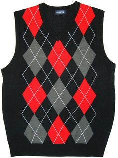 Black/Red Argyle Sweater Vests for Men    www.yookstore.com