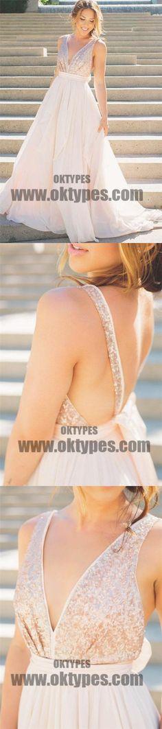 Long Floor Length Prom Dresses, Sequin Prom Dresses, Sexy V-neck Prom Dresses, Backless Prom Dresses, TYP0196 #promdresses