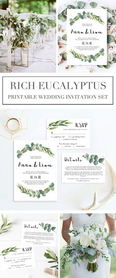 Give the perfect first statement of your wedding day to your loved ones with this greenery wedding invitation set. The soft watercolor eucalyptus leaves make a beautiful frame for your information. The editable suite includes a wedding invitation x Garden Wedding Invitations, Printable Wedding Invitations, Wedding Invitation Sets, Wedding Stationery, Invitation Suite, Handmade Wedding Decorations, Diy Wedding On A Budget, Wedding Ideas, Trendy Wedding