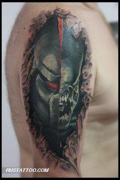 predator vs alien tattoo Alien Tattoo, Predator Tattoo, Alien Vs Predator, Pop Culture, Tattoo Ideas, Skull, Tattoos, Tatuajes, Japanese Tattoos