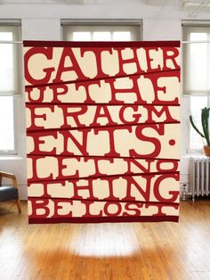 Nothing Lost by Paul Loebach - felted wool quilt patterned after an ancient biblical proverb adopted by American quilters in the civil war era. (Gather up the fragments, let nothing be lost) Alphabet Quilt, Red And White Quilts, Wool Quilts, Civil War Quilts, Textiles, Antique Quilts, American Crafts, Quilting Designs, Felted Wool