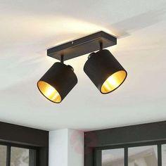 Stoff-Deckenlampe Vasilia in Schwarz-Gold, Fabric Ceiling, Ceiling Lamp, Spot Plafond, Lamp Inspiration, Tadelakt, Lighting Concepts, Wall Lights, Ceiling Lights, Pendant Lamp