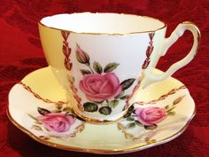22kt Gold Imperial Bone China Tea Cup Saucer Set England Yellow Pink Roses