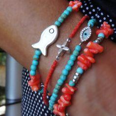 Turquoise Bracelet Coral Bracelet Evileye bracelet by CharmByIA
