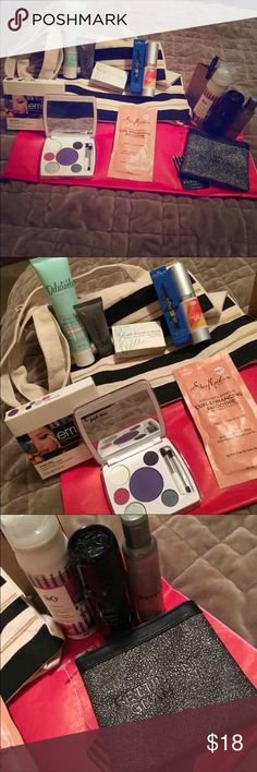 """Beaty Bag Several fun hair and make-up items Eye Shadows Shower cap Cleansing Conditioner Hand Cream Hand Wash Body Wash Eye Serum Eye Liner """"Getting my Glam On"""" pewter zip top card holder Hair Spray Conditioning Hair Treatment Canvas black/cream/gold tote + bonus surprise goodies Makeup"""