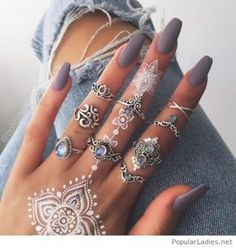 Awesome long matte nails on grey