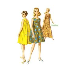Simplicity 7088 Hawaiian MuuMuu Pattern or Sleeveless Caftan Dress Sewing Pattern, Uncut