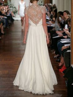 Cap Sleeves Lace Chiffon Wedding Dress Vneck See by harsuccthing