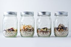 These instant DIY oatmeal jars couldn't be easier to make. Just assemble all the ingredients in the jar, and seal and save or transport until it's oatmeal o'clock. Then, just add boiling water/milk or heat in microwave. Breakfast (or lunch) is served! Recipes for many varieties that are wholesome, cheaper, healthier and delicious!