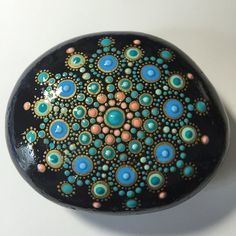 Hand Painted Mandala Stone, Mandala Meditation Stone, Dot Art Stone, Healing Stone, #241 by MafaStones on Etsy