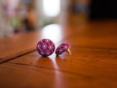 Large purple vintage style button earrings