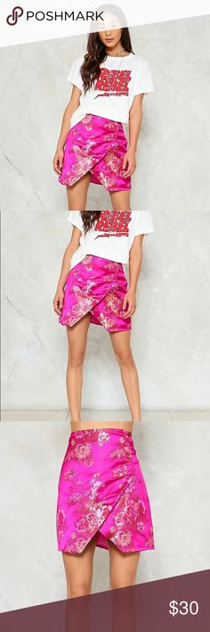 Pink magenta satin wrap skirt Chinese inspired skirt style. Sooo cute and trendy! Ordered on nasty gal but was too big for me. Size 6 but runs big- fits like an 8. Nasty Gal Urban Outfitters Missguided Forever21 Revolve Nasty Gal Skirts Mini