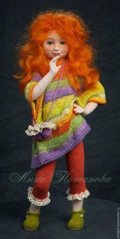 Adorable needle felted doll. Doll made in the technique filtsnadel (dry felting) without a skeleton. Inside and outside wool only. Eyes - plastic. Toning face and hand made colored wool. Hair - curls sheep breed Lincoln. Clothing and bag tied by hand from cotton and viscose yarn. Pants - knitted lace. Doll stable without stand.