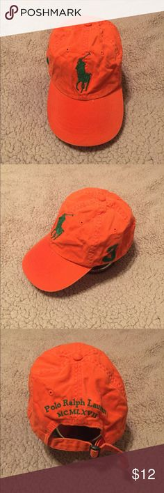 c52a7f50 Lightly used polo adjustable cap Orange Polo hat also one in red Polo by Ralph  Lauren