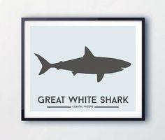 Shark Wall Art Kids Bedroom Decor / Great White Shark Print /