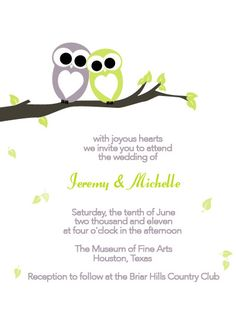 Gray and Green Owl Wedding Invitation