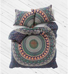 Indian Cotton Ombre Mandala Duvet Doona Cover Throw King Quilt Comforter 5PC Set