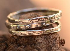 Rustic Skinny Stackable Ring in Sterling Silver by cathydailey