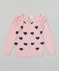 Look what I found on Sophie & Sam Petal Pink Heart Ruffle Cardigan - Toddler & Girls by Sophie & Sam