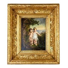 Antique French Portrait Miniature Oil Painting, Gesso Wood Frame ❤ liked on Polyvore featuring home, home decor, wall art, wood home decor, landscape painting, portrait oil painting, miniature oil painting and wooden wall art