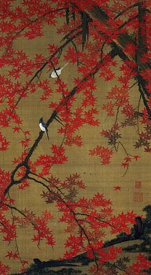 Japenese Woodblock Print by Ito Jakuchu....birds on red maple branches