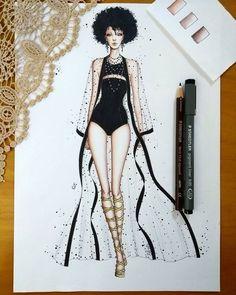Coisas que Gosto: Illustration Mode, Fashion Illustration Sketches, Fashion Sketches, Fashion Design Sketchbook, Fashion Design Drawings, Moda Fashion, Fashion Art, Womens Fashion, Moda Kimono