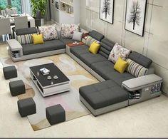 Simple Modern Living Room - Modern Luxury U Type Fabric Sofa Living Room Sofa Set, Furniture Design Living Room, Sofa Design, Simple Sofa, Sofa Set Designs, Modern Furniture Living Room, Furniture Design, Living Room Designs, Living Room Furniture Styles