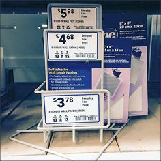 Multi-Size Patch Merchandising by FibraTape® – Fixtures Close Up Adhesive, Patches, Packaging, Display, Floor Space, Billboard, Wrapping