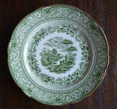 Antique Staffordshire Green Transferware Salad Plate Grecian Ridgway Staffordshire Beehive Stamp