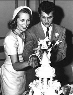 Tony Curtis and Janet Leigh on their wedding day