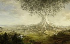 Fantasy, Tree, Giant, Valley, River, Roots, Art, Paintings, Landscapes, Images, Colorful, Absract, Artworks, Best Arts Ever, Historical Images, Widescreen, Art Wallpapers For Windows, Art Photos For Samsung, 1805×1116 HD Wallpaper Desktop Background