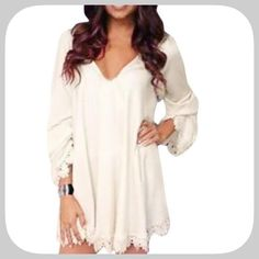 NWT Sweet White Crochet Lace V-Neck Tunic This is a super sweet and sexy top/tunic! Wear with a sash or belt! Make it your own! Would also make a nice night dress! Very versatile! Boutique Tops Tunics