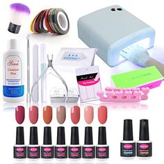 CLAVUZ 7pcs Soak Off Gel Polish Set Top Coat and Base Coat Set 36W UV Nail Lamp Cleanser Plus New Starter Color Collections Manicure Nail Art Tool Kit Christmas Gift Set -- Click image for more details. Note:It is Affiliate Link to Amazon.