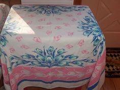 Vintage Tablecloth 50s Tulips blue jadite Cottage Chic Bubblegum PINK wow PRETTY