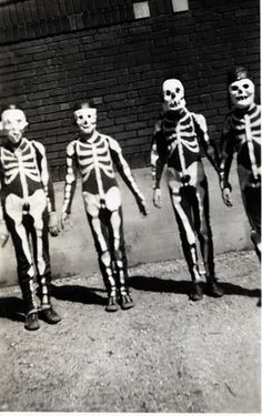 My brother was a skeleton tim he outgrew the costume. Then I inherited it! Yuk mask that smelled of mothballs and camphor. But we loved it.    Halloween c.1950s