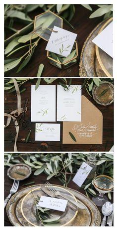 olive leaves  botanic wedding invitation Tuscany /zaproszenia ślubne