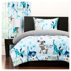 Enjoy the sweetest of dreams sleeping in the Crayola Chase Your Dreams Reversible Comforter Set. Decked out in playful puppies, paw prints, and the phrases Chase Your Dreams and Dogs Rule, this soft comforter set is a fun addition to any bedding. King Duvet Set, Twin Comforter Sets, Duvet Sets, Bright Bedding, Boy Bedding, Chase Your Dreams, My New Room, Dreaming Of You, Home Decor