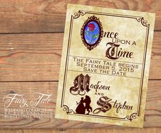 Fairy Tale Wedding Collection - Beauty and the Beast Storybook Save the Date Postcard by KLMcreative on Etsy