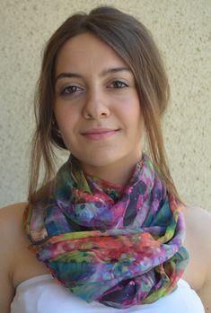 Hand painted silk scarf/ Cobalt shawl scarf painted/ by myemly
