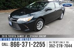 2015 Toyota Camry - Mid-Size Sedan - I-4 2.5L Engine - Remote Keyless Entry - Steel Wheels - Tinted Windows - Fog Lights - Safety Airbags - Powered Windows/Locks/Mirrors/Driver Seat - Seats 5 - AM/FM/CD Player - Touch Screen - iPod/Aux/USB Ports - Bluetooth - Outside Temperature Display - Backup Camera - Cruise Control and more!