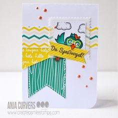 Anja's card is just SOOOOO funny! Check out her blog post to see how she created it :) #stamps #stamping #coloring #crafting #papercrafts #papercrafting #card #cardmaking #handmadecards #karte #kartendesign #kartengestaltung #kartenbasteln #stempel #stempeln #createasmile #createasmilestamps #basteln