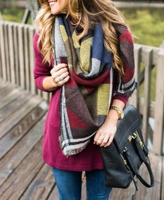 Fall Outfit: Colorblock Blanket Scarf