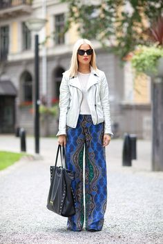 P.J. pants continue their fashion reign and work well with a white moto.